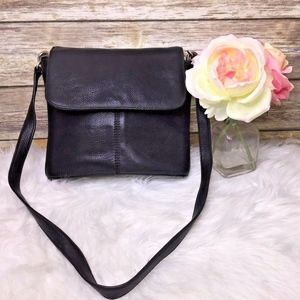 Vintage Black Pebbled Leather Fossil Crossbody